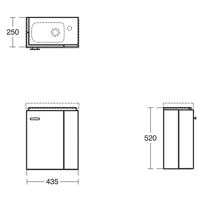 Ideal Standard Concept Space 450 x 250mm wall hung Guest basin unit with L shaped door - Right hand - Unbeatable Bathrooms