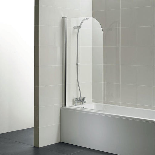Ideal Standard Connect Radius Bathscreen - clear glass - Unbeatable Bathrooms
