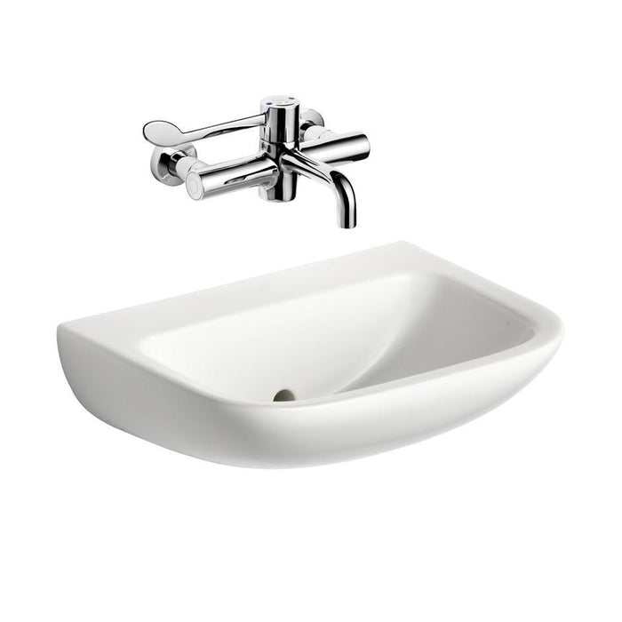 Armitage Shanks Contour 21 Basin with Back Outlet, No Overflow or Chain Hole - No Tapholes - Unbeatable Bathrooms