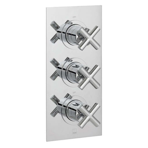 Vado Elements Two Outlet Three Handle Wall Mounted Thermostatic Shower Valve - Unbeatable Bathrooms