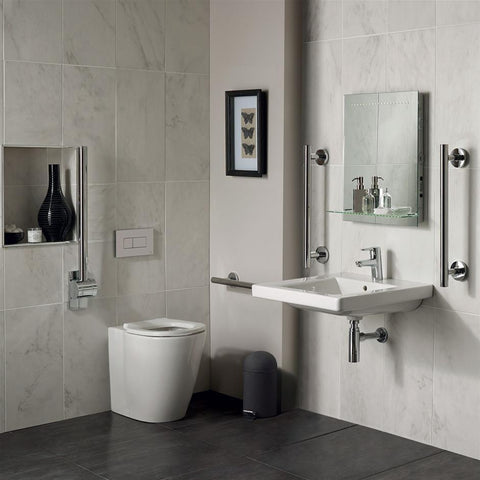 Ideal Standard Freedom Bathroom pack inc 60cm Accessible basin and raised height BTW WC bowl - Chrome rails - Unbeatable Bathrooms