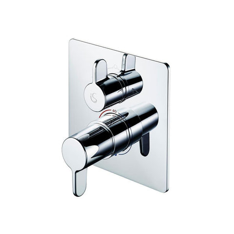 Ideal Standard Freedom BI thermostatic shower mixer with diverter, square faceplate and metal lever handles - Unbeatable Bathrooms