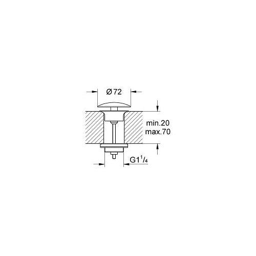 Grohe 1-1/4 Inch Waste 65808000 Drawing Image