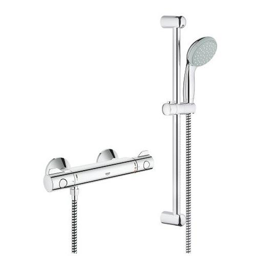 Grohe Grohtherm 1/2 Inch Thermostatic Shower Mixer with Shower Set and Temperature Control - Unbeatable Bathrooms