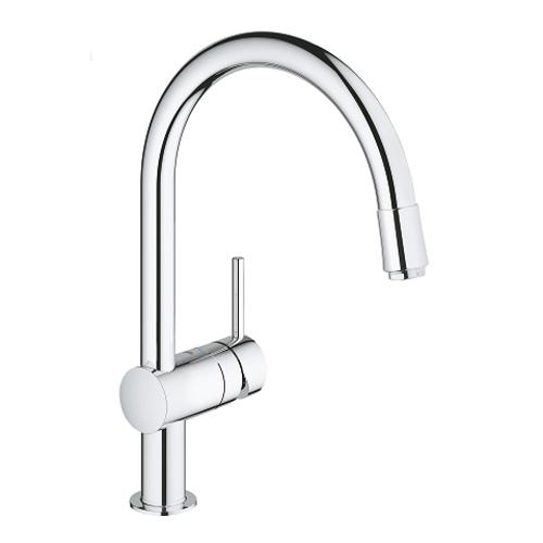 Grohe Minta 1/2 Inch Single Lever Chrome Sink Mixer with Pull Out Spray Head - Unbeatable Bathrooms