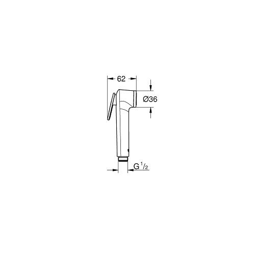 Grohe Tempesta F Trigger Spray Hand Shower with 1 Spray 28020L01 Drawing Image