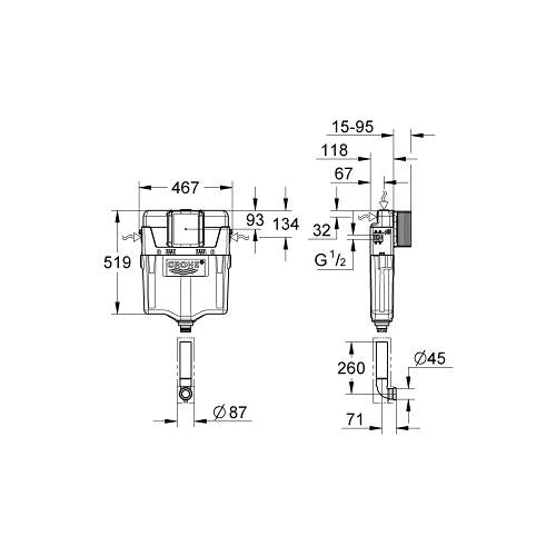 Grohe WC Concealed Cistern with Dual or Single Flush