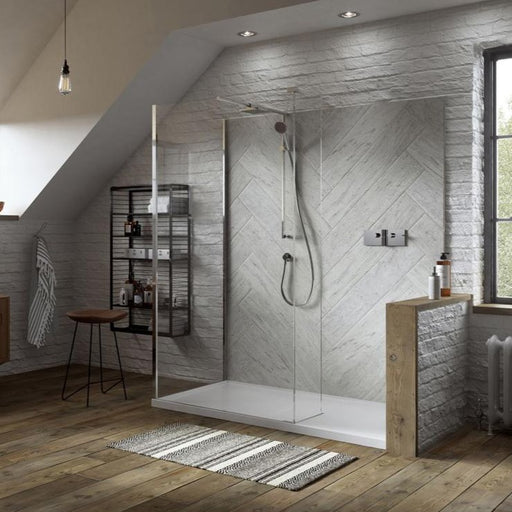 Matki Boutique Walk In Shower Enclosure for Corner with Blade Mixer Assembly and Hinge Panel