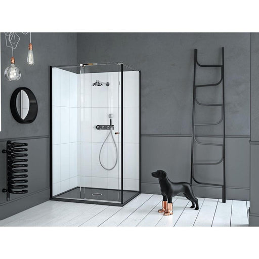 Matki Corner Reverse 1500mm Sliding Door with Glass Guard, White Finish and Side Panel - Unbeatable Bathrooms