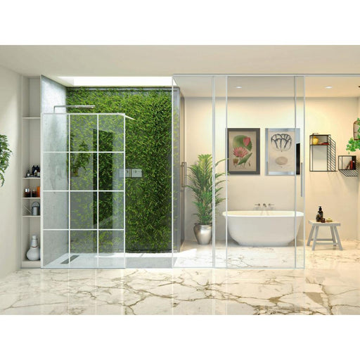 Matki-One Wet Room Panel with Ceiling Brace and White Framed-Effect
