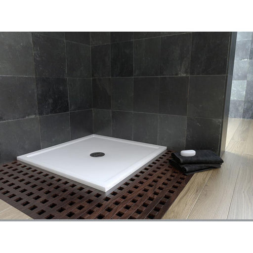Matki White Continental 900x800mm Shower Tray with Centre High-Flow Waste - Unbeatable Bathrooms