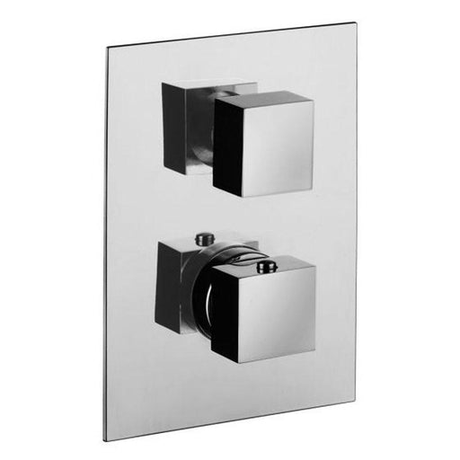 Mere Bathrooms Elvo Dual Handle Thermostatic Shower Valve with Diverter (2 Outlets) - Square - Unbeatable Bathrooms
