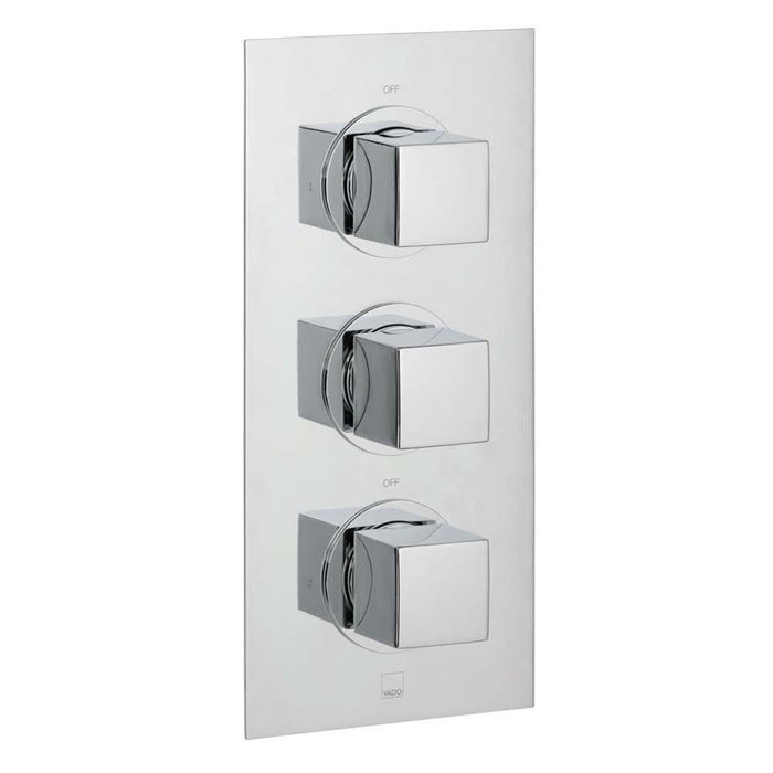 Vado Mix Two Outlet Three Handle Wall Mounted Thermostatic Shower Valve - Unbeatable Bathrooms