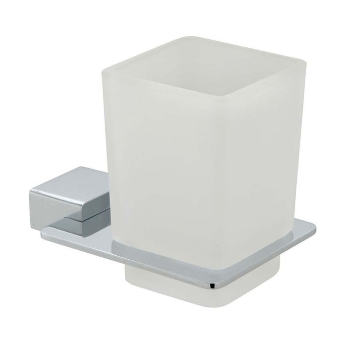 Vado Phase Frosted Wall Mounted Glass Tumbler & Holder - Unbeatable Bathrooms