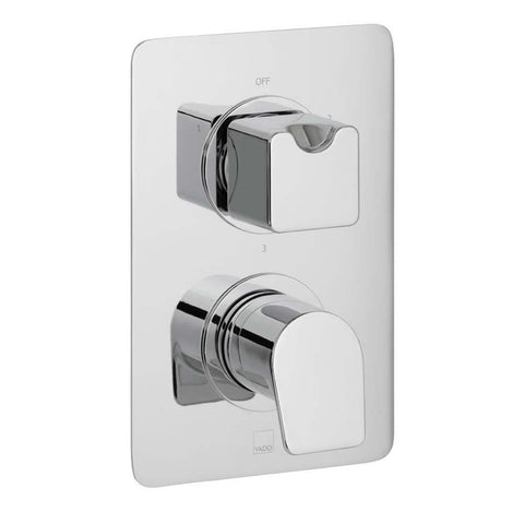 Vado Photon Three Outlet Two Handle Wall Mounted Thermostatic Shower Valve - Unbeatable Bathrooms