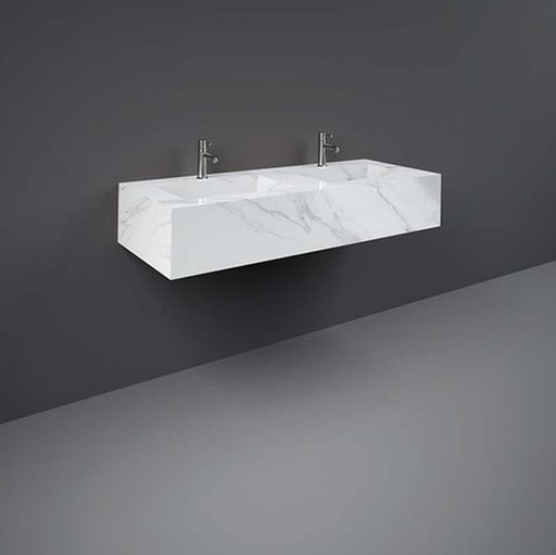 Rak Precious Wall Mounted Console Double Wash Basin 123cm x 47cm One Taphole - Unbeatable Bathrooms