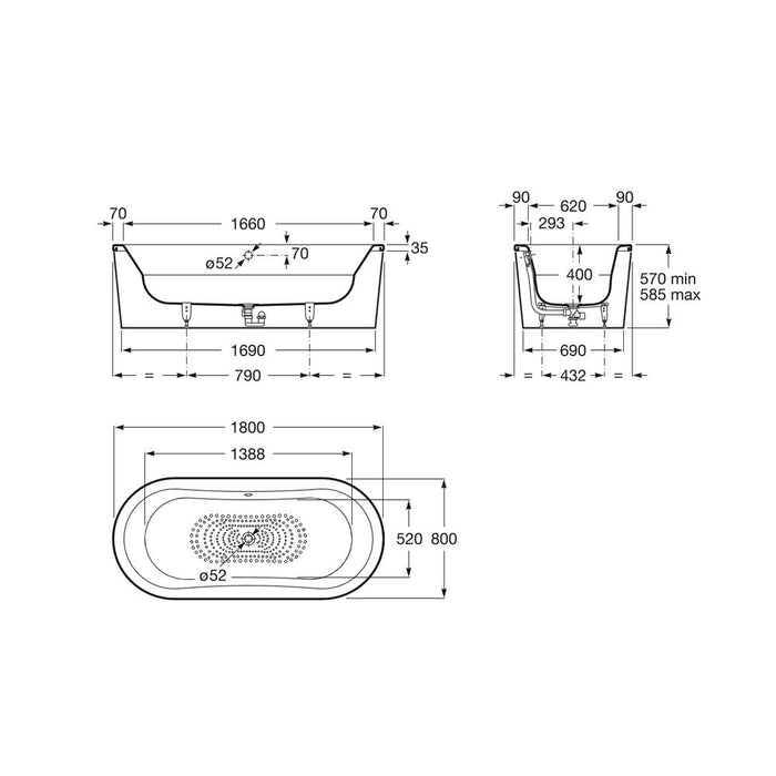 Roca Duo Plus 1800x800mm Freestanding Bath Tub with Anti-Slip A222575000 Dimensional Drawing