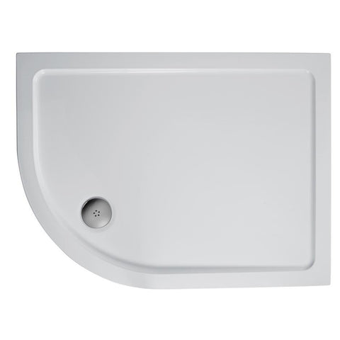 Ideal Standard Simplicity 900mm x 800mm Offset Quadrant low profile flat top shower tray including waste - Unbeatable Bathrooms