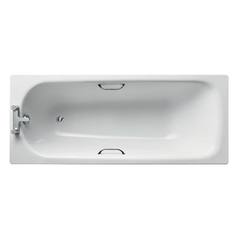 Ideal Standard Simplicity bath 170 x 70cm standard gauge steel with chrome plated grips two tapholes - Unbeatable Bathrooms