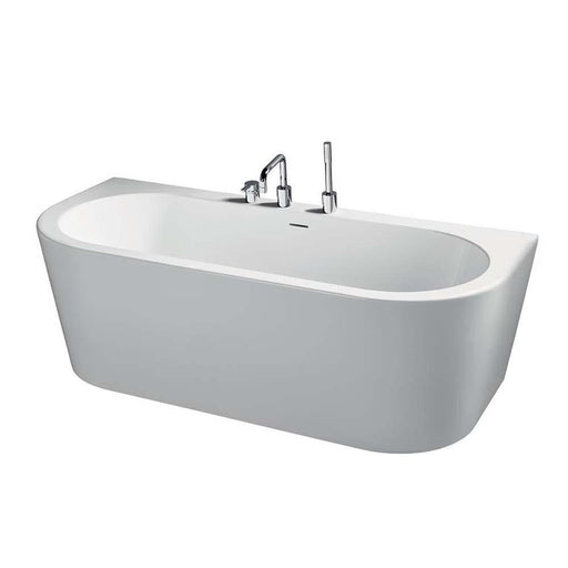 Sottini Bormida 180X80Cm D-Shape Double Ended Bath with Clicker Waste and No Tapholes - Unbeatable Bathrooms