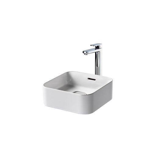 Sottini Fusaro 40cm Square Vessel Washbasin, No Taphole with Overflow and Integral Clicker Waste - Unbeatable Bathrooms