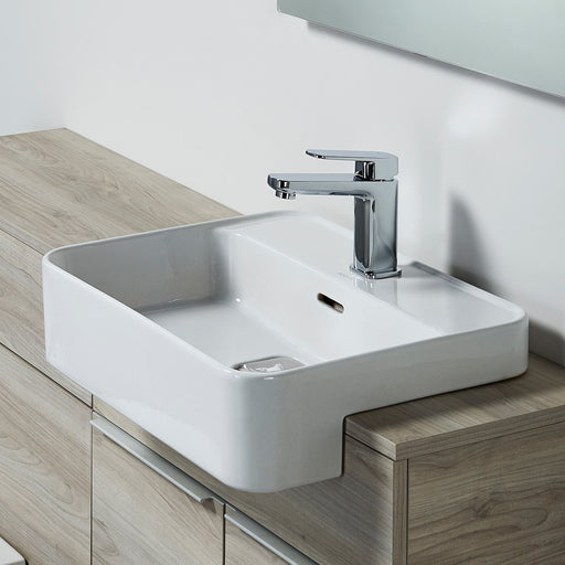 Sottini Fusaro 50cm Semi-countertop Washbasin One Taphole with Overflow and Integral Clicker Waste - Unbeatable Bathrooms