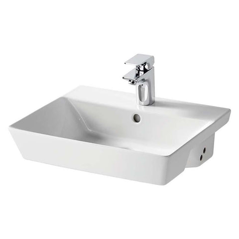 Sottini Isarca 50cm Semi-Countertop Wash Basin with One Taphole - Unbeatable Bathrooms