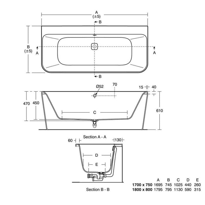 Sottini Turano Peninsular D-shape Double Ended 170x75cm Idealform Plus+ Bath Tub Including Waste - Unbeatable Bathrooms