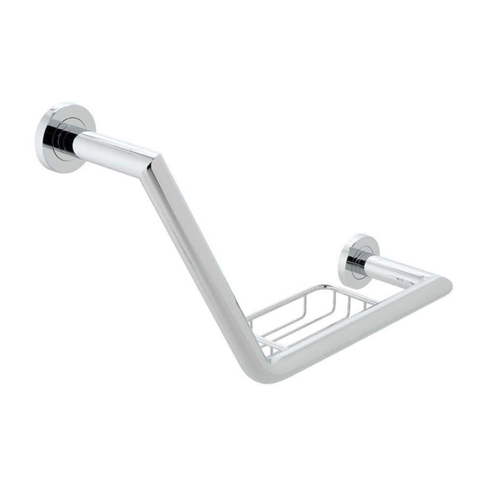 Vado Spa 456mm Angled Grab Rail with Basket - Unbeatable Bathrooms