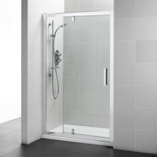 Ideal Standard Synergy 1200mm Pivot door and in-line panel, IdealClean Clear Glass, Bright Silver finish - Unbeatable Bathrooms