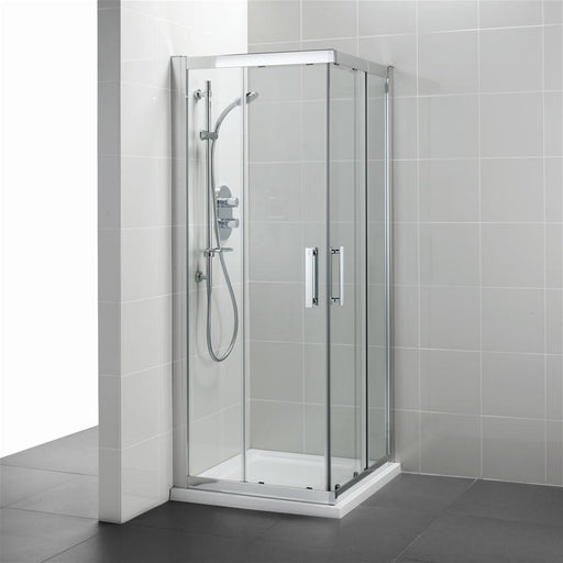 Ideal Standard Synergy Corner Entry enclosure, IdealClean Clear Glass, Bright Silver finish - Unbeatable Bathrooms