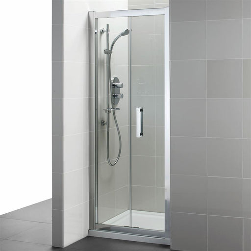 Ideal Standard Synergy Infold door, IdealClean Clear Glass, Bright Silver finish - Unbeatable Bathrooms