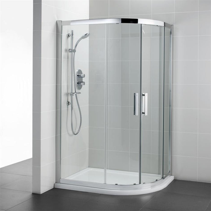 Ideal Standard Synergy Offset Quadrant enclosure, IdealClean Clear Glass, Bright Silver finish - Unbeatable Bathrooms