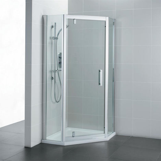 Ideal Standard Synergy Pentagon enclosures, IdealClean Clear Glass, Bright Silver finish - Unbeatable Bathrooms