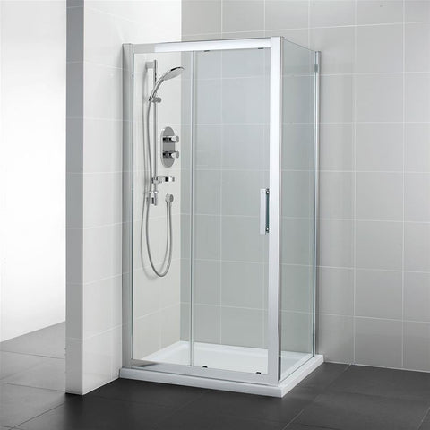 Ideal Standard Synergy Slider door, IdealClean Clear Glass, Bright Silver finish - Unbeatable Bathrooms