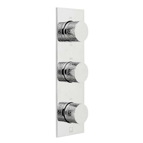Vado Omika Three Outlet Three Handle Vertical Tablet Thermostatic Shower Valve - Unbeatable Bathrooms