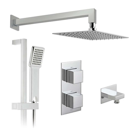 Vado Shower Valve Package of Notion Two Outlet,Two Handle Concealed Thermostatic Shower Valve,Fixed Shower Head & Slide Rail Shower Kit - Unbeatable Bathrooms