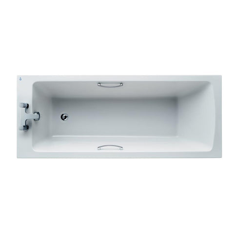 Ideal Standard Tempo 170 x 70cm rectangular idealform bath with chrome handgrips, no tapholes and water saving - Unbeatable Bathrooms
