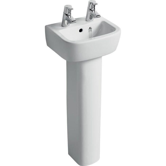 Ideal Standard Tempo 35cm handrinse washbasin, 2 tapholes - Unbeatable Bathrooms