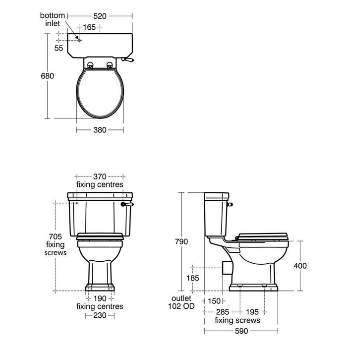 Ideal Standard Waverley close coupled wc pan with horizontal outlet - Unbeatable Bathrooms