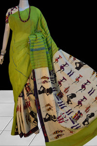 Light Green mulmul cotton Khesh saree with egyptian print