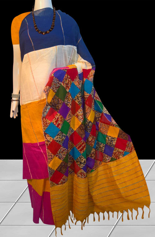 Multicolor mulmul khesh cotton handloom saree