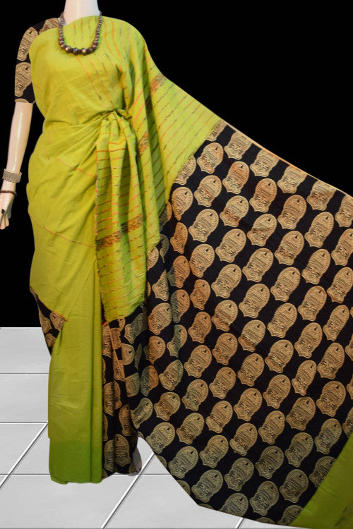 Stylish green color mulmul khesh cotton handloom saree