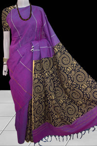 Delightful violet color mulmul khesh cotton handloom saree