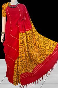 Red & yellow color mulmul cotton handloom saree with khesh