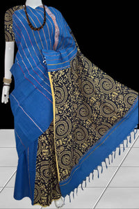 Decent ocean blue color mulmul cotton handloom saree with khesh