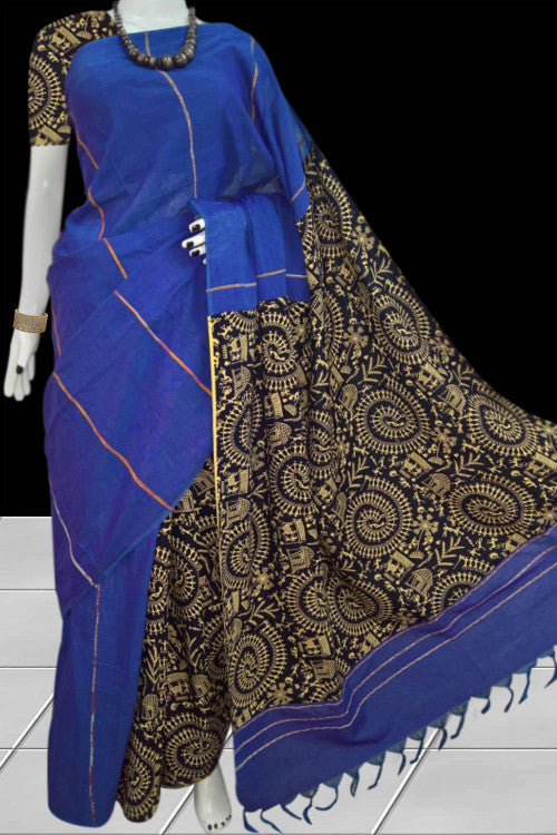 Classy blue color mulmul cotton handloom saree with khesh
