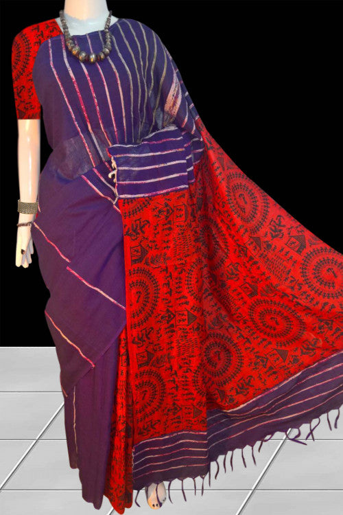 Elegant color mulmul cotton handloom saree with khesh