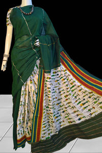 Sab green color mulmul khesh cotton handloom saree