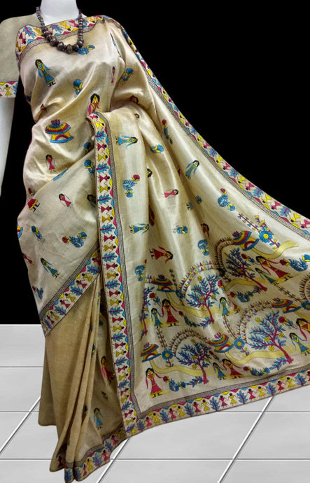 Cream color Art Silk saree in embroidery work